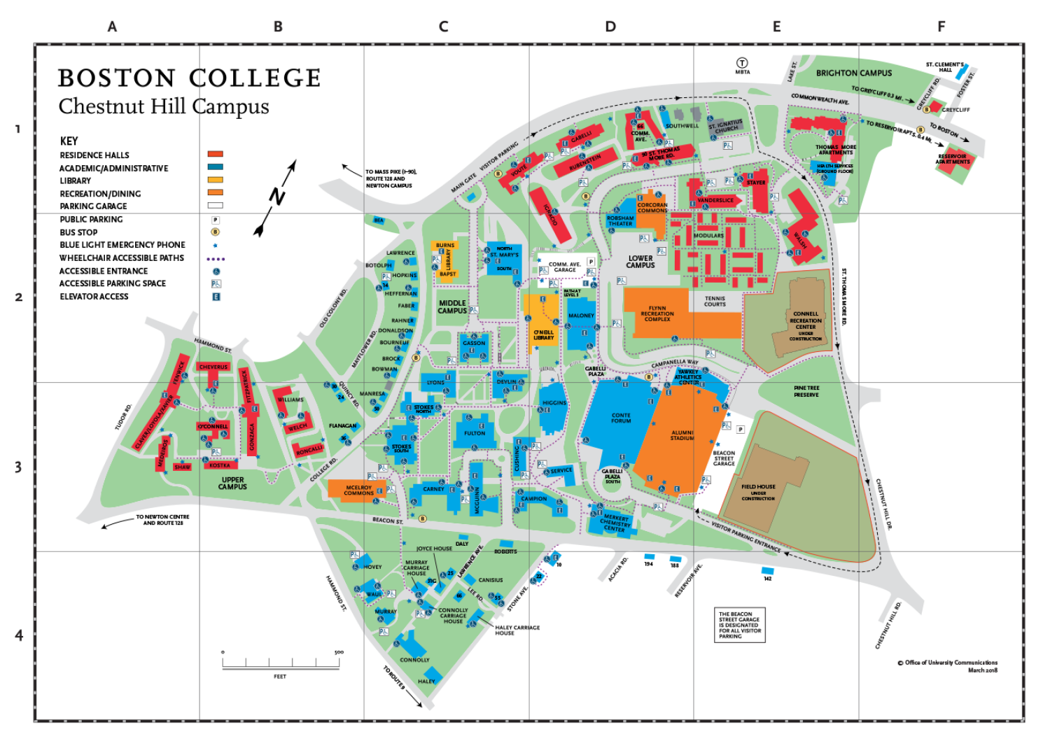 Boston College Chestnut Hill Campus Map