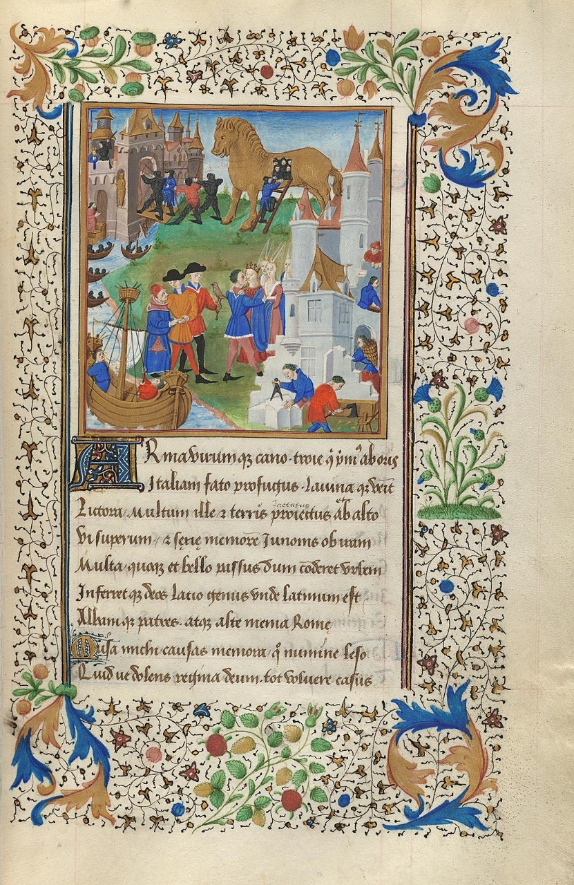 The Fall of Troy | F. 80r from Virgil's Aeneid | Bourges, France, c. 1451–56 | Harvard University, Houghton Library, MS Richardson 38