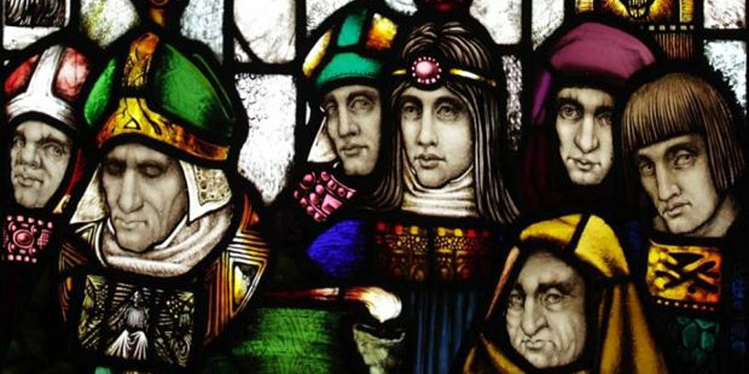 The Baptism of St. Patrick: Stained-glass art by Harry Clarke