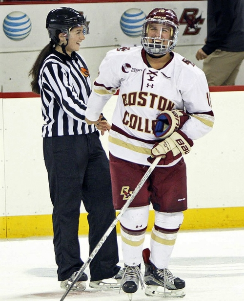 Dana Trivigno, left, has traded in her BC hockey jersey for a Hockey East referee's uniform.