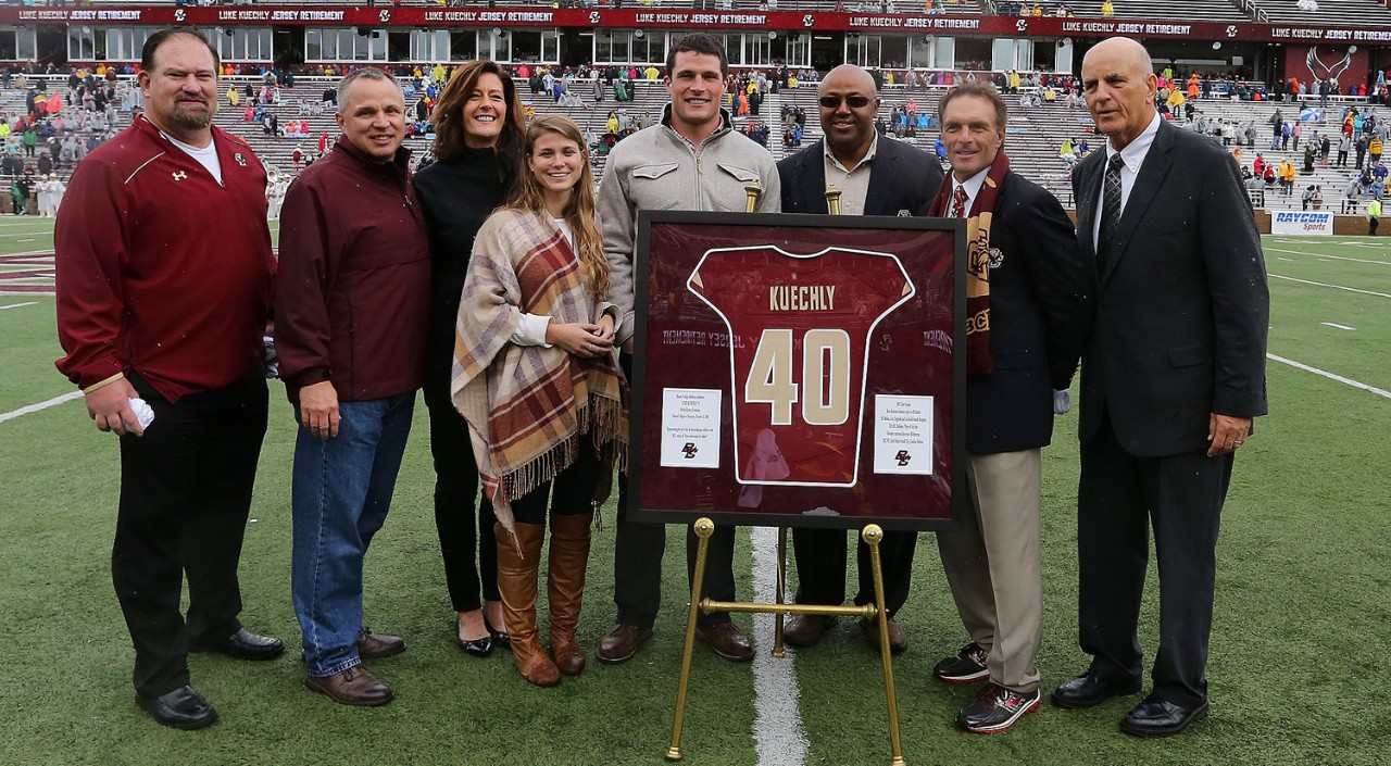 Former Eagles' linebacker Luke Kuechly's jersey was retired at ceremony at Alumni Stadium on October 22, 2016