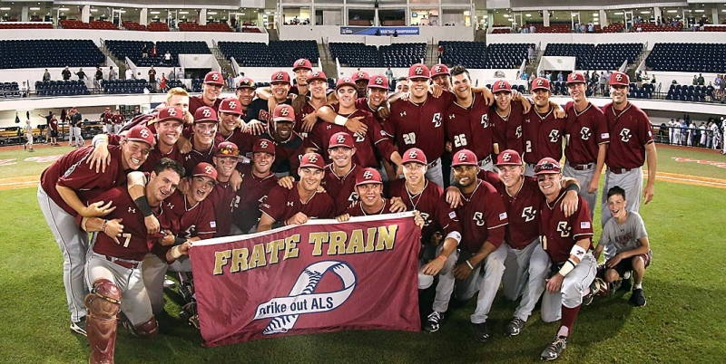 BC Baseball team with 'Team Frate Train' banner