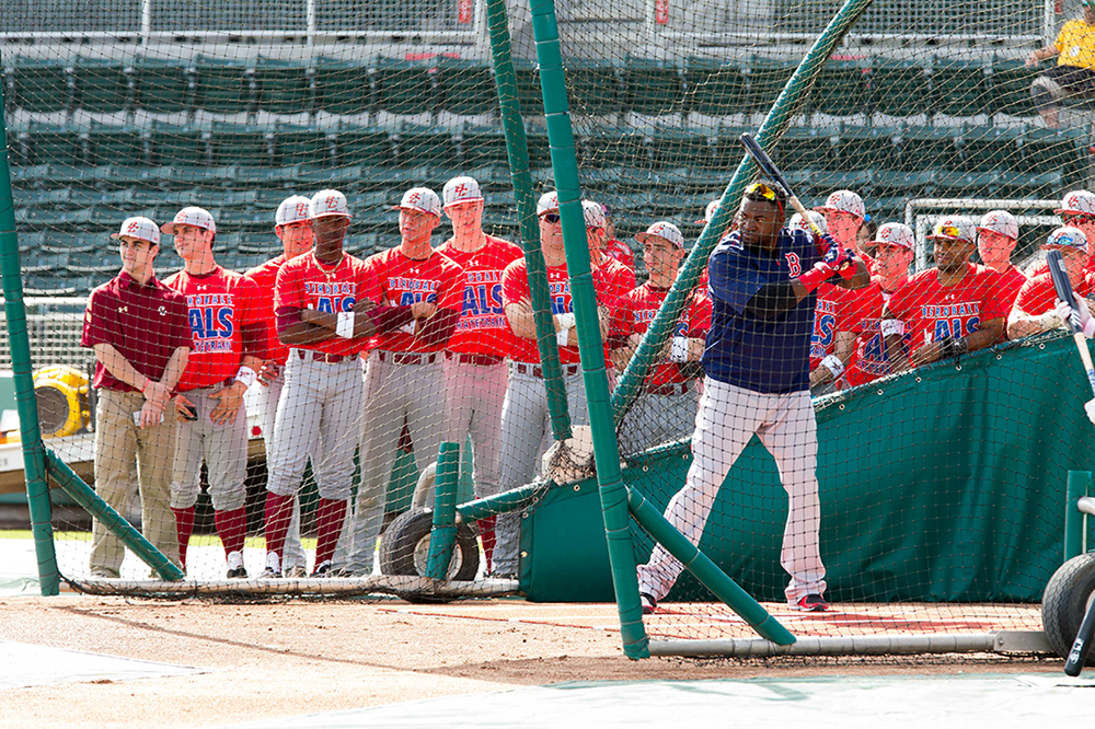 BC players watch David Oritz during batting practice.