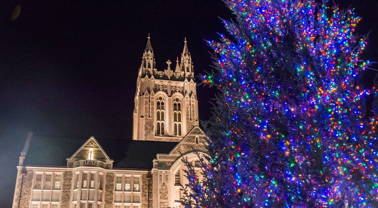 Gasson Hall at Christmas, Boston College