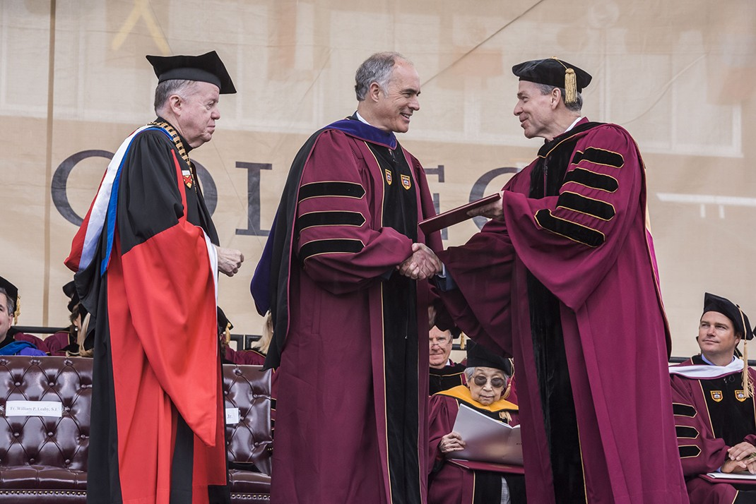 Commencement speaker,  U.S. Senator Robert P. Casey Jr., received the degree of Doctor of Laws.