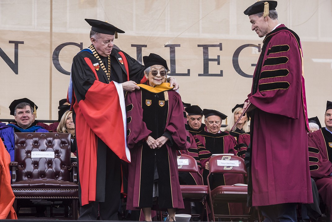 93-year-old BC School of Social Work alumna Amy Chin Guen received an honorary Doctor of Social Science degree.