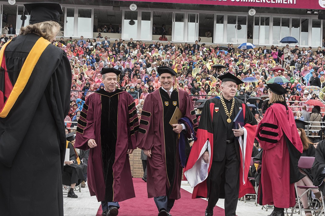 BC Board of Trustees chair John F. Fish and University President William P. Leahy, S.J., flank this year's Commencement speaker, U.S. Senator Bob Casey (D-Pa.)
