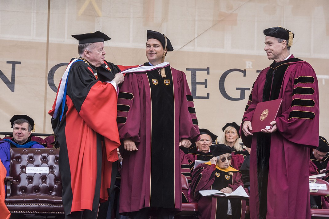 ilm, Broadway, and television actor Chris O'Donnell, an alumnus of the Carroll School of Management, received an honorary Doctor of Humane Letters degree