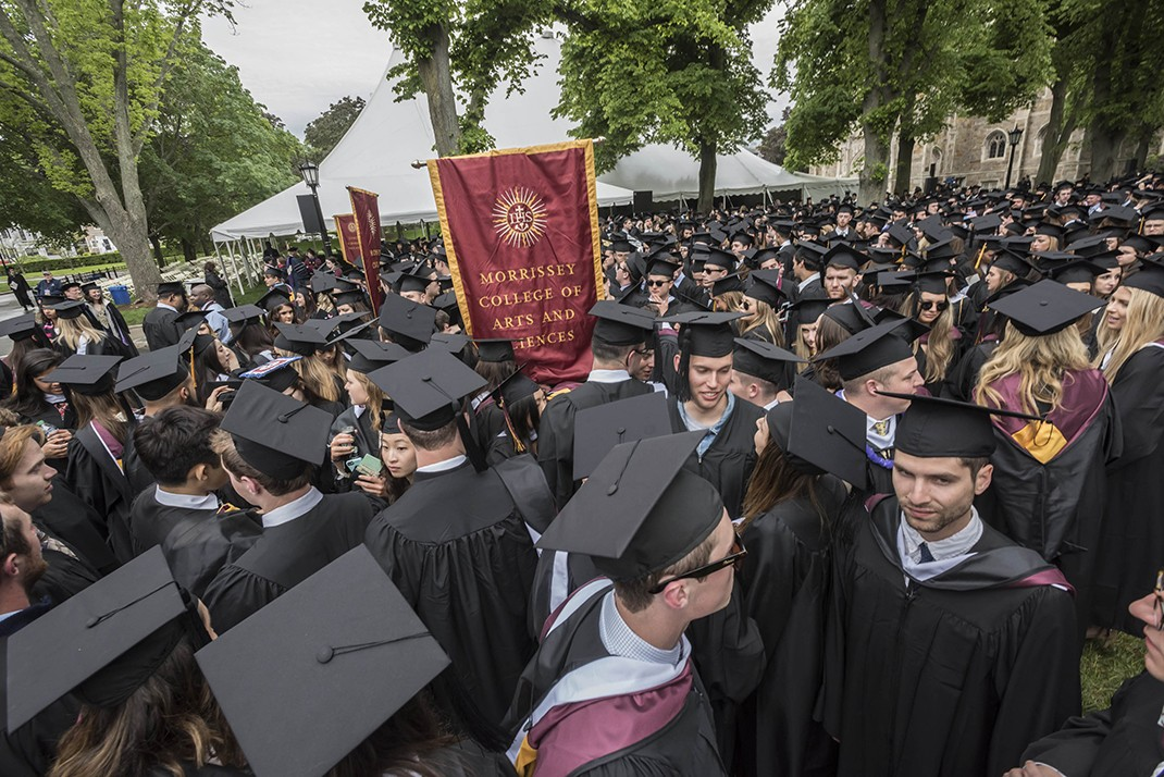 The graduating class gathered on Linden Lane before processing to the main Commencement ceremony in Alumni Stadium.