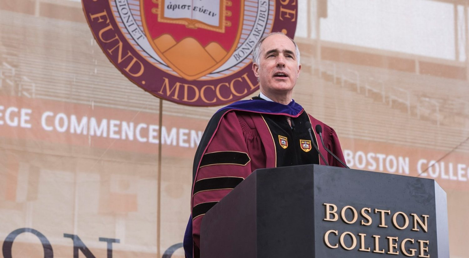 U.S. Senator Bob Casey addresses the Boston College Class of 2017