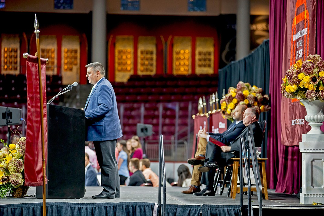 Michael Sacco, executive director of BC's First Year Experience program, and director of the University's Center for Student Formation, welcomed the students.