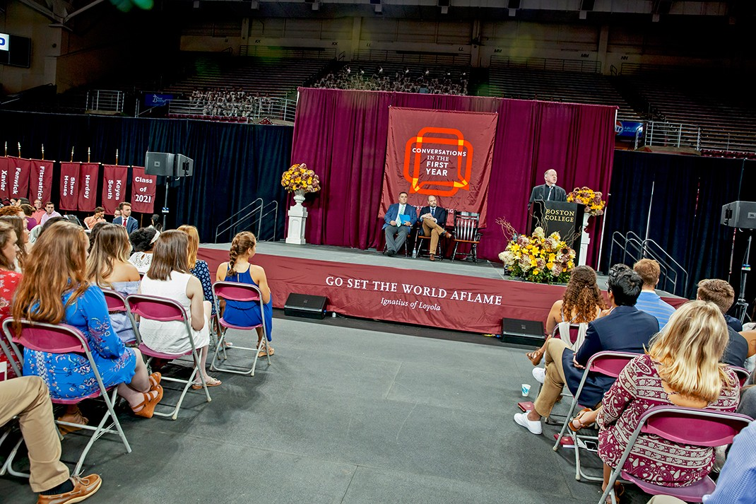 University President William P. Leahy, S.J., addressed the first-year students.