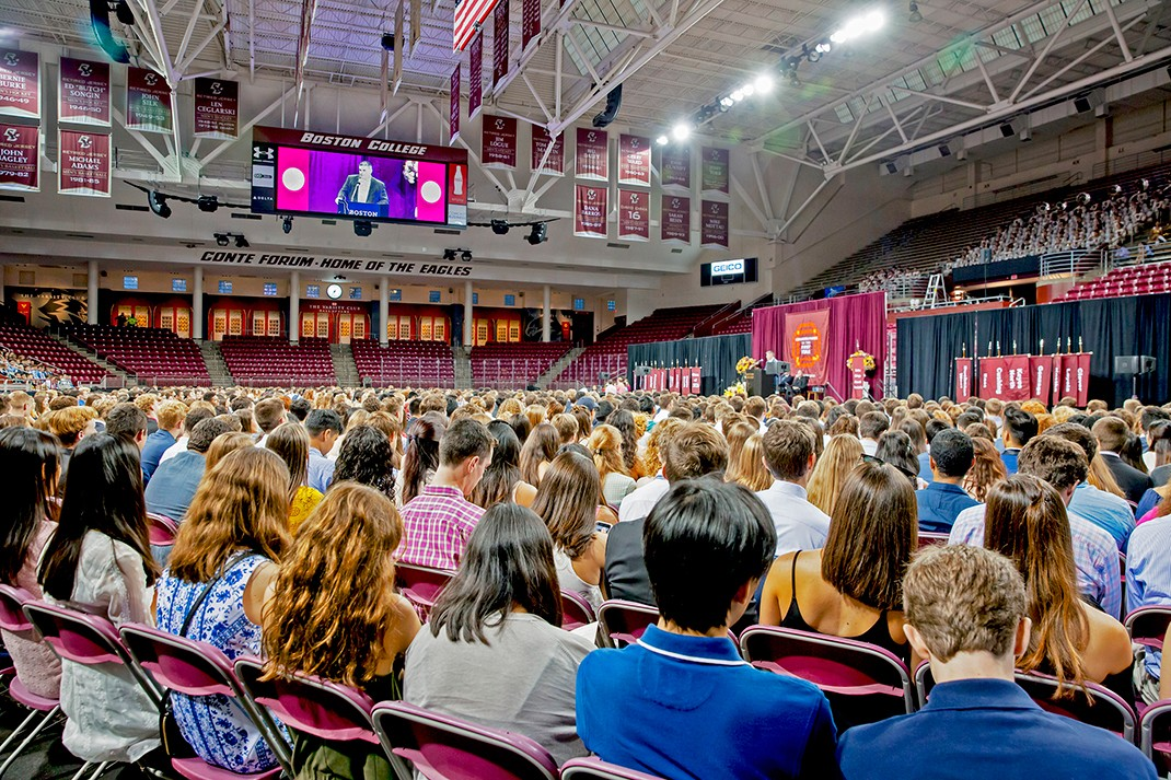 The Class of 2021 assembled in Conte Forum for First Year Academic Convocation.