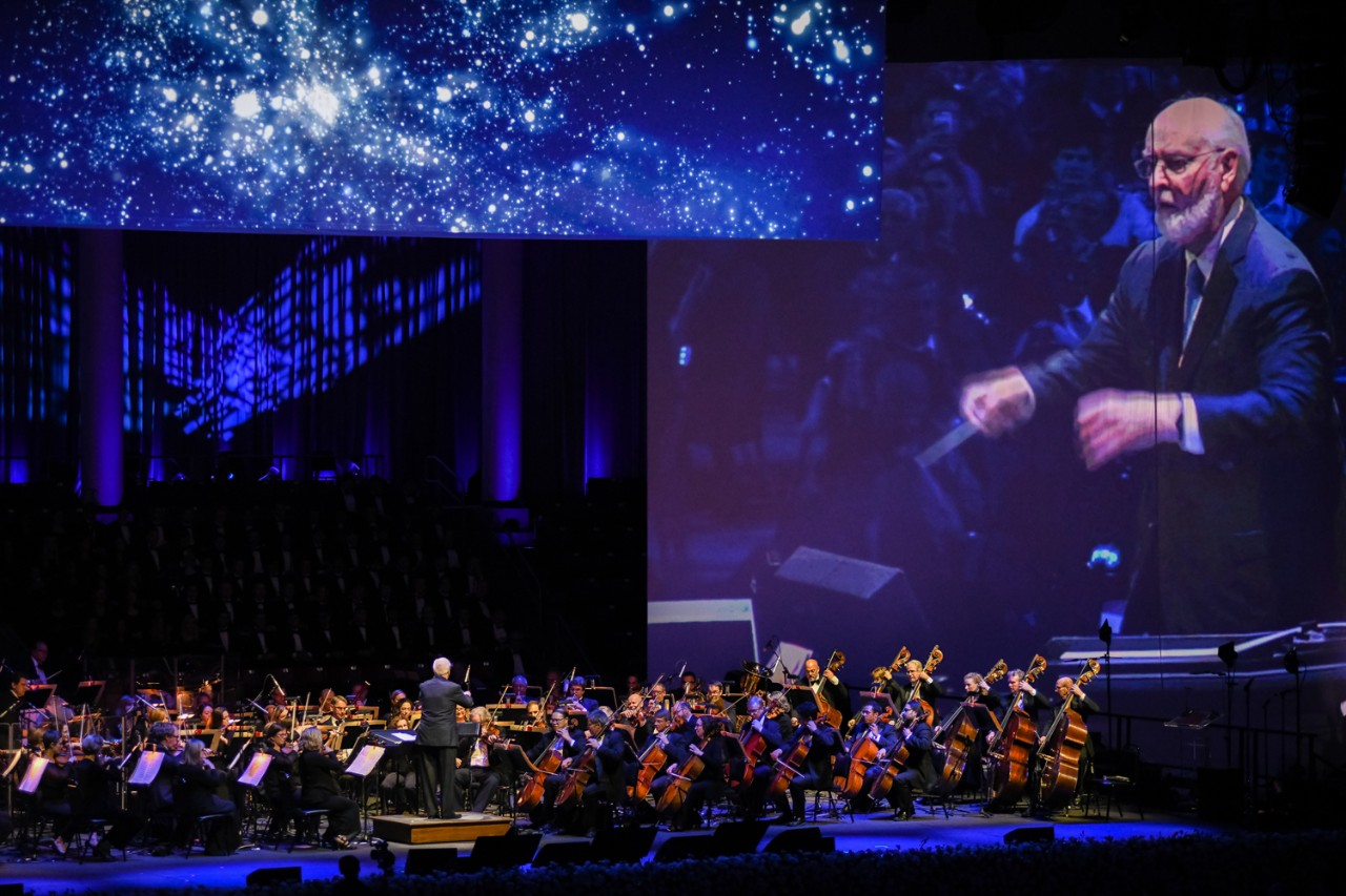 Laureate Pops conductor John Williams took the baton to lead the orchestra in a rendition of his 'Star Wars' theme, which its 40th anniversary this year. (Michael Manning)