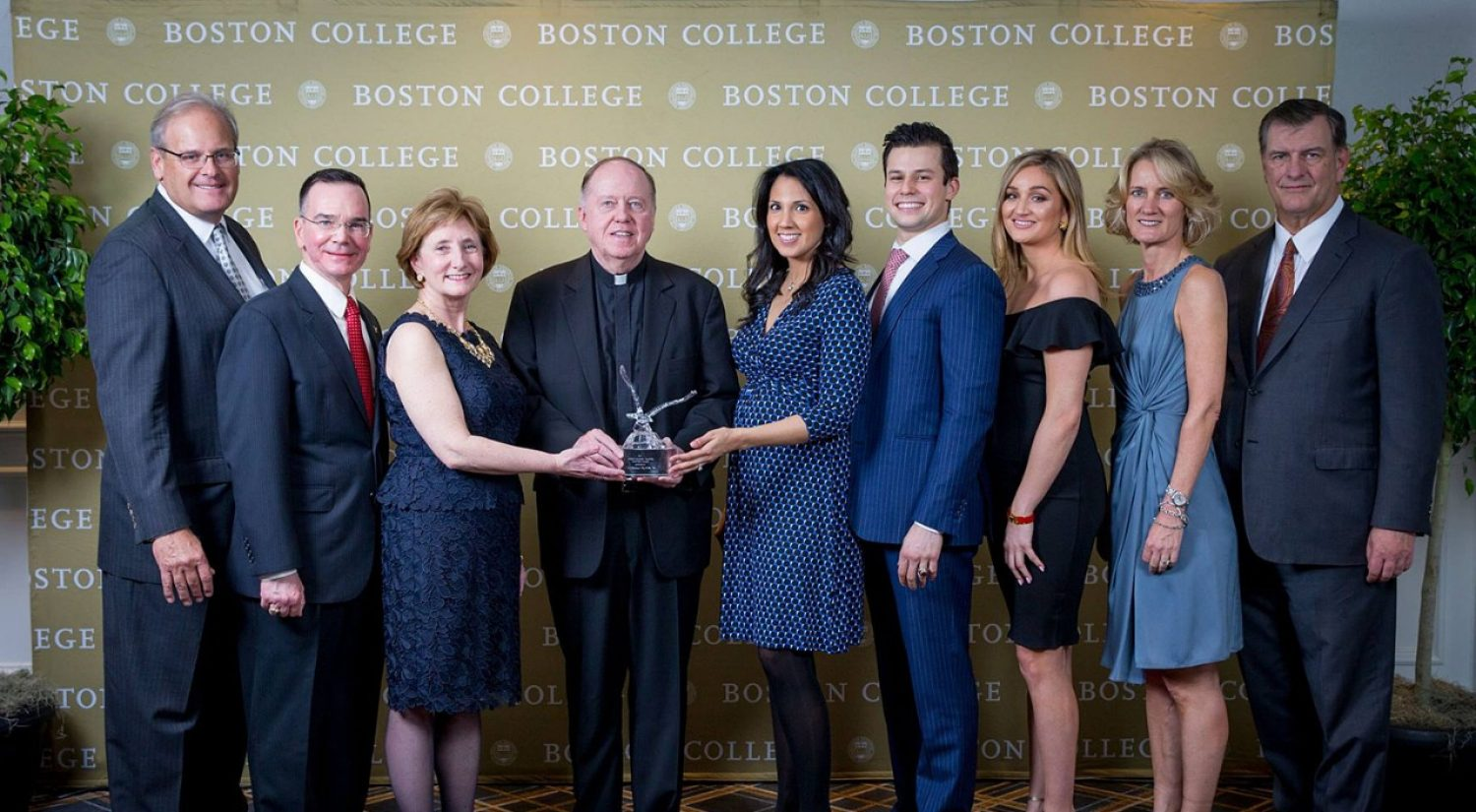 2017 Distinguished Alumni Award recipients with University President William P. Leahy, S.J.