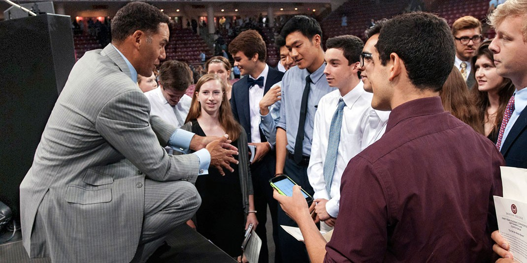 Steve Pemberton with BC students