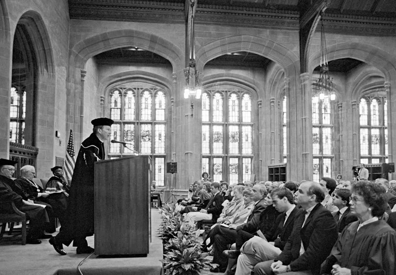 Fr. Monan at the dedication of the renovated Bapst and Burns Libraries on April 22, 1986.