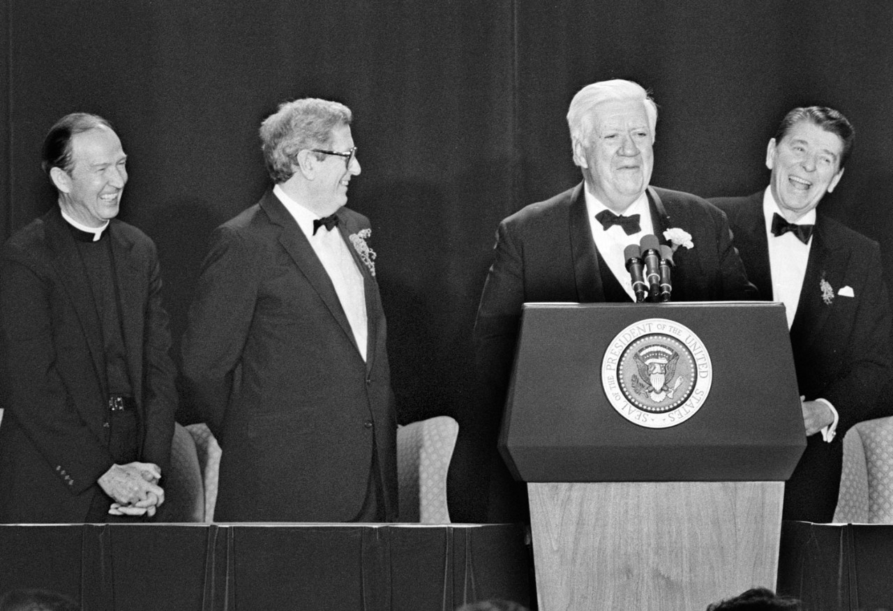 Fr. Monan, former Irish Prime Minister Garrett FitzGerald, U.S. Speaker of House Thomas P. 'Tip' O'Neill '36, and President Ronald Reagan at the O'Neill Tribute Dinner in Washington, DC, March 17, 1986. (Gary Wayne Gilbert)