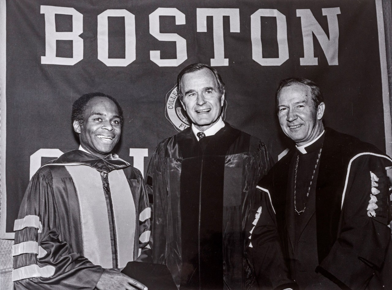 Fr. Monan, David Nelson, and George Bush at Commencement 1982