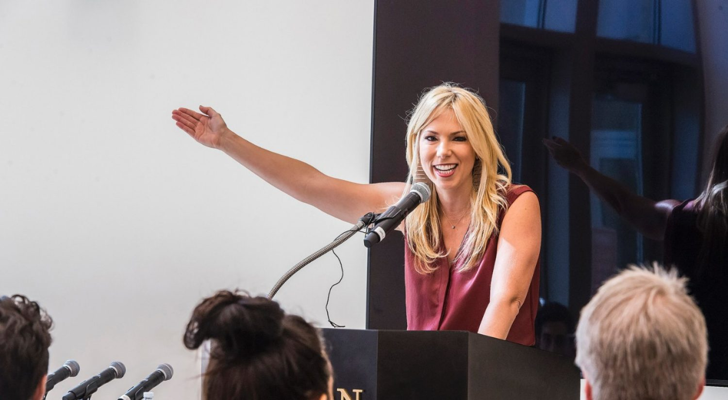 Emmy Award-winning broadcaster Pili Montilla '00 at BC Career Center 'Launch' event