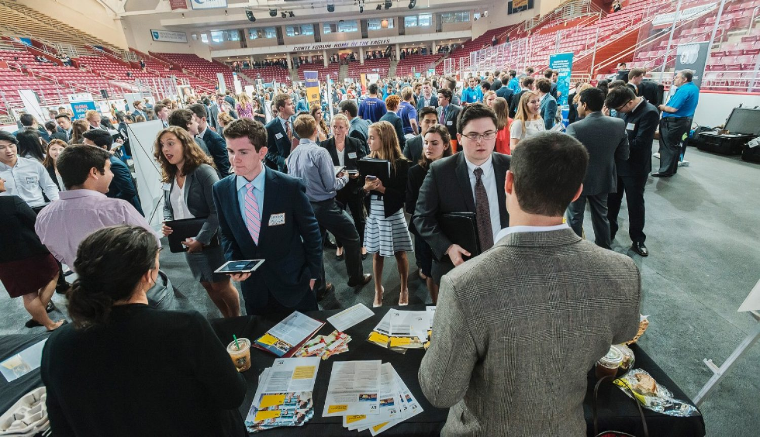 AA record-breaking number of students attended the Boston College 2016 Fall Career and Intership Fair in Conte Forum.
