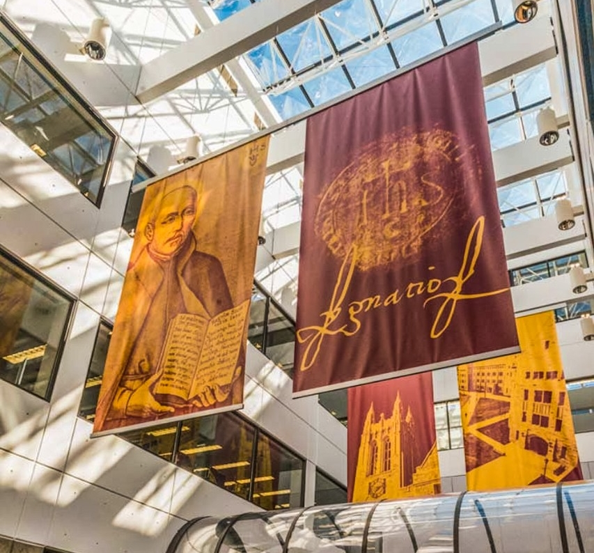 Banners in O'Neill Library atrium at Boston College