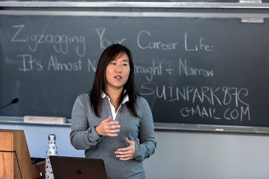 Alumna and talent consultant Su In Park's seminar focused on 'Zigzagging Your Career Life: It's Almost Never straight and Narrow.'