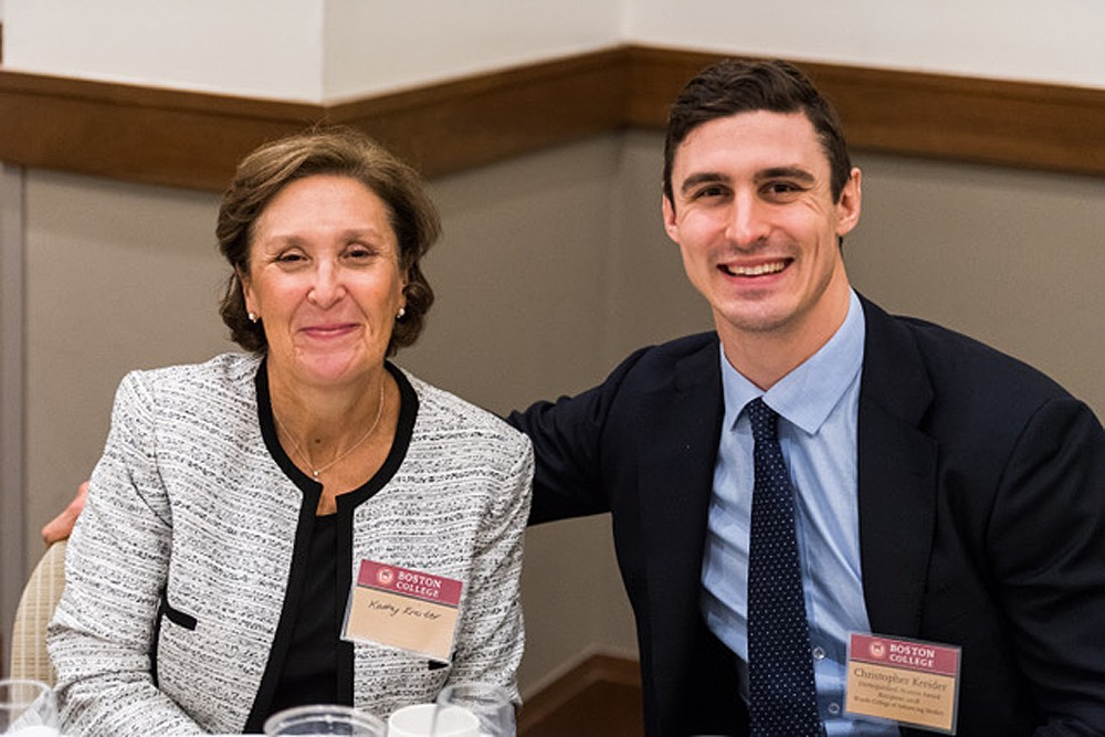 Chris Kreider and his mother, Kathy Kreider, at the Woods College awards dinner