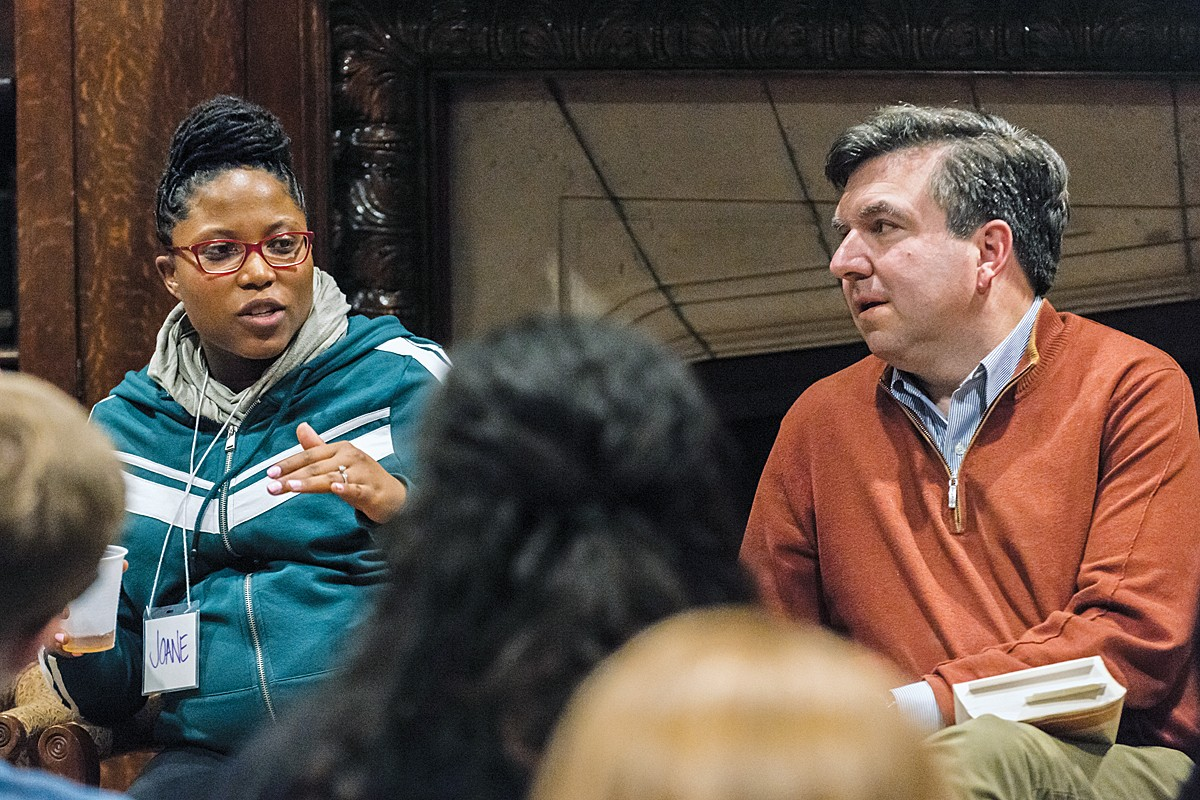 "Joane Etienne and David Quigley, during the ""200 words"" panel discussion"