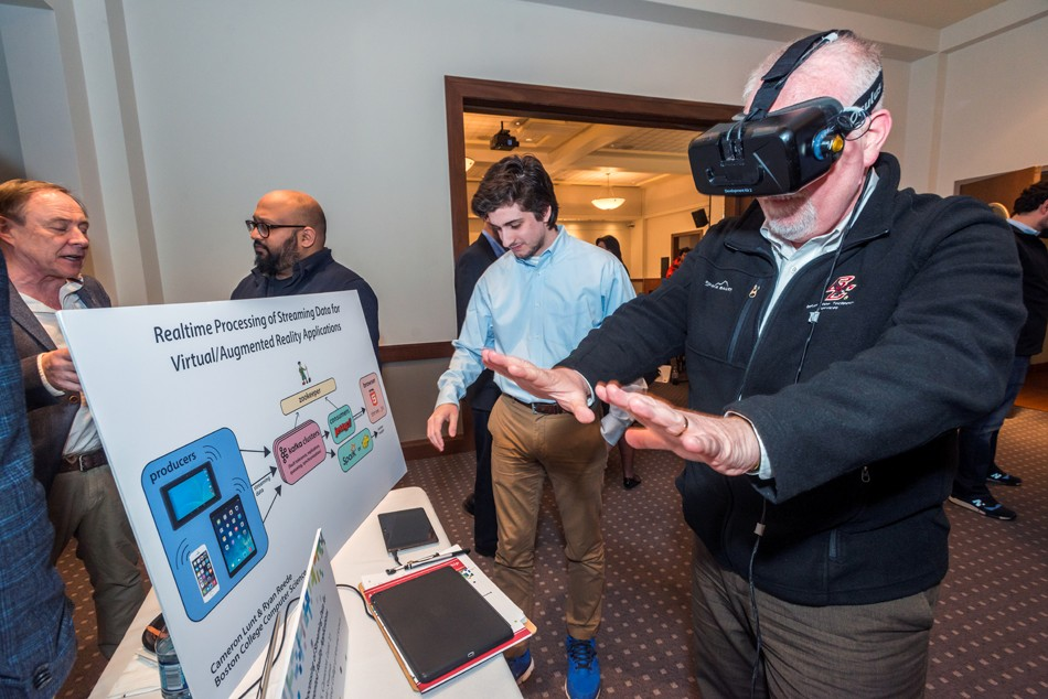 Students Cameron Lunt '17 and Ryan Reede '16 present their research project on realtime processing of streaming data for virtual/augmented reality application.