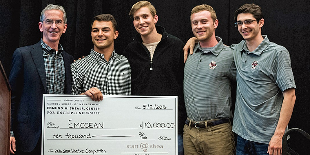 Shea Center Executive Director Jere Doyle with 2016 venture competition first-place winners from Emocean: Anders Bill '17, Christian Nicholson '15, Jeffrey Sabo  '15, Michael Gordon '16.