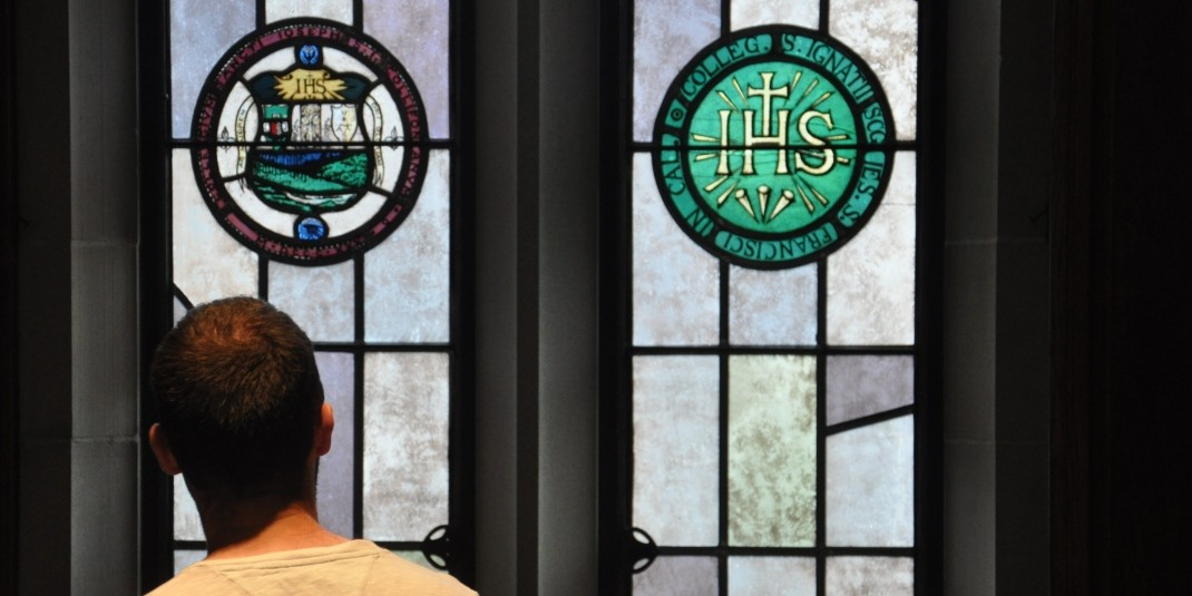 Jesuit seal in stained glass