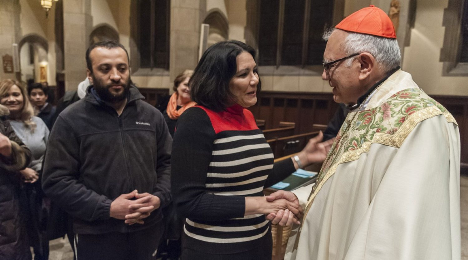 Cardinal Baltazar Porras from the Pontifical Commission for Latin America presided at a Mass for immigrants a St. Ignatius Church, which closed the week-long Ibero-American Conference of Theology at Boston College.