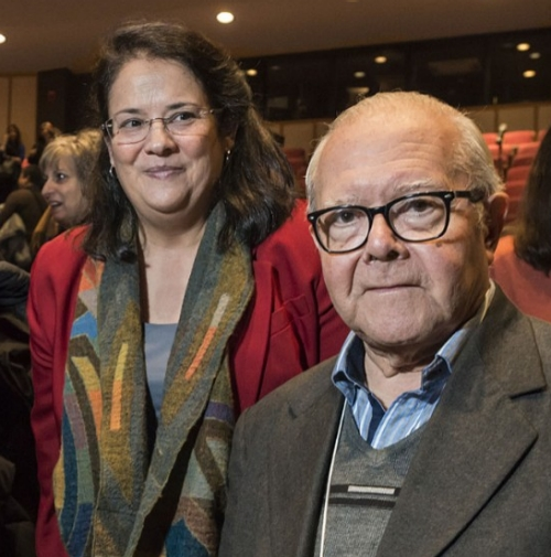 "Juan Carlos Scannone, S.J., a founding philosopher of the ""theology of the people"" and the pope's seminary instructor, here with School of Theology and Ministry Associate Professor Nancy Pineda-Madrid."