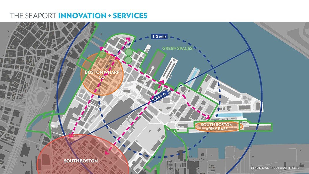 Hundreds of new and established companies have located to South Boston's Seaport District, creating an innovation district largely inside one square mile.