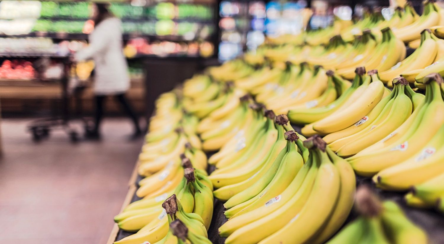 Supermarket display of bananas