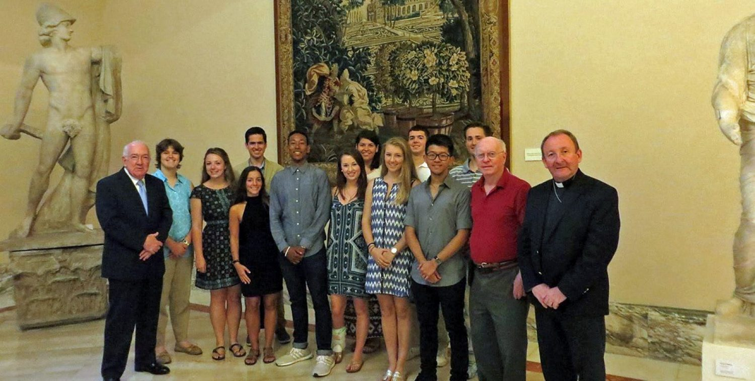 Students at BC's theology summer study program in Rome.