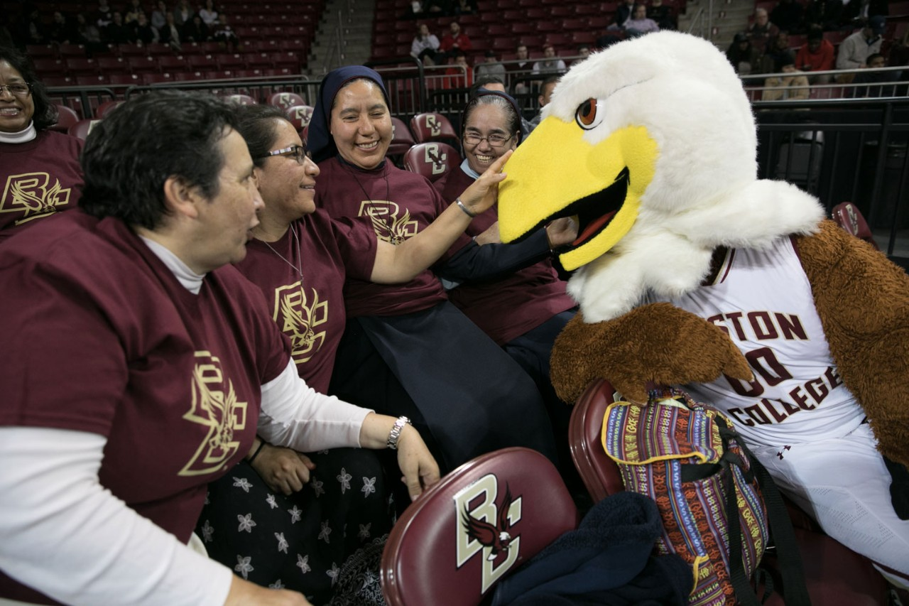 Between courses, participants in the U.S.-Latin American Sisters Exchange Program attend a BC basketball game.