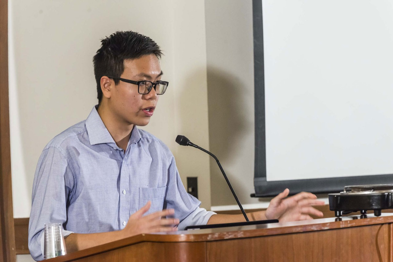"Christopher Yu '18 explains his project ""Environmental Conditions of Factory Work in China: The Emerging Face of Chinese State Capitalism""."