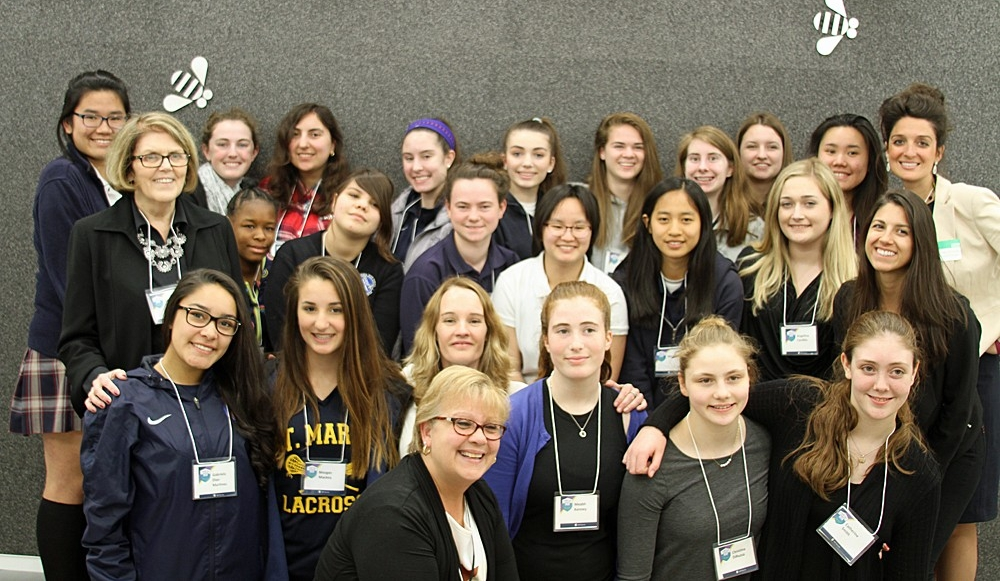 Participants in Cyber Day 4 Girls, hosted by IBM Security and Boston College