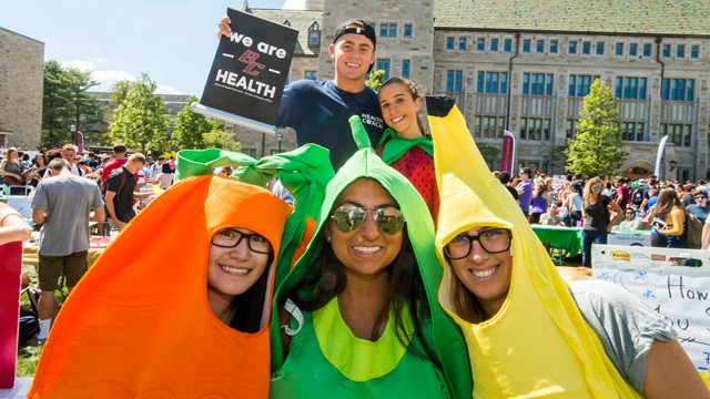Students dressed in fruit costumes
