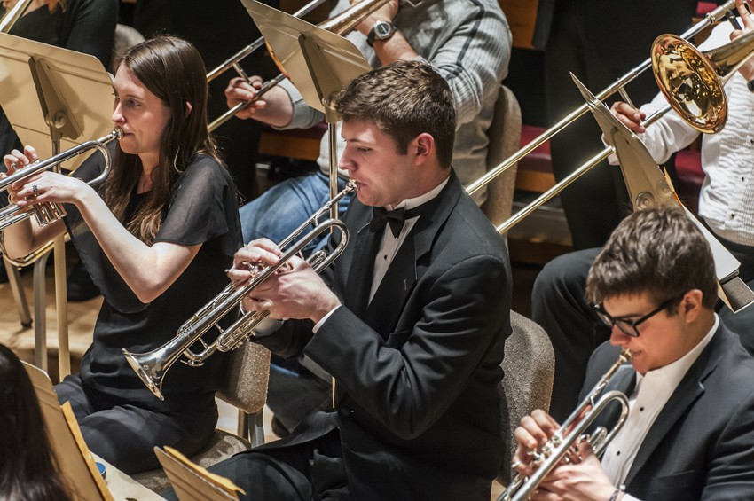 Students perform with the Boston College Symphony Orchestra