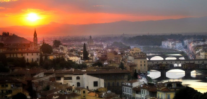 Landscape of Florence at sunset