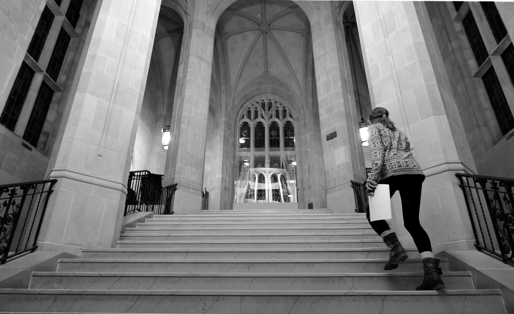 Interior of Bapst Library, B&W still from 'Night' video