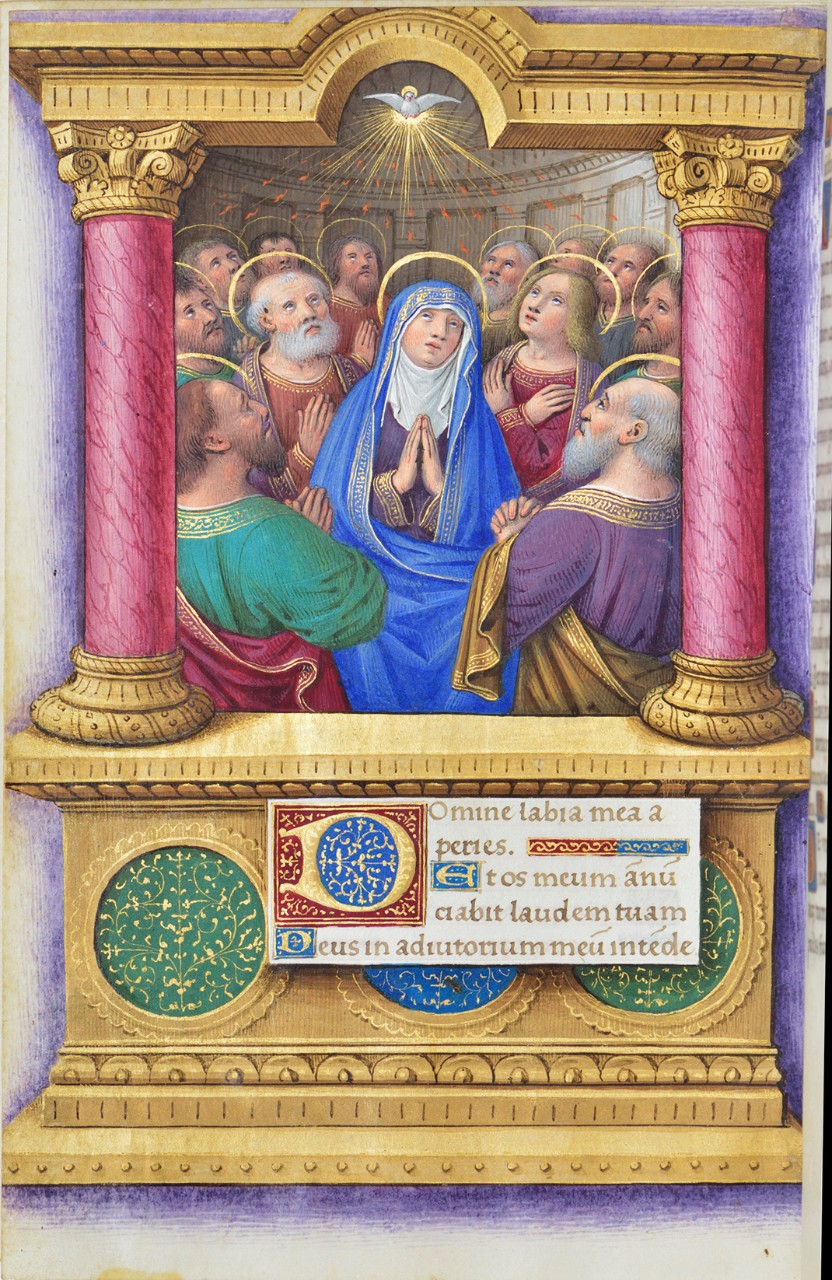 Pentecost | F. 121r from a book of hours | Jean Bourdichon (1457–1521, illuminator) | Tours, France, c. 1515–20 | Isabella Stewart Gardner Museum, 6.T.1