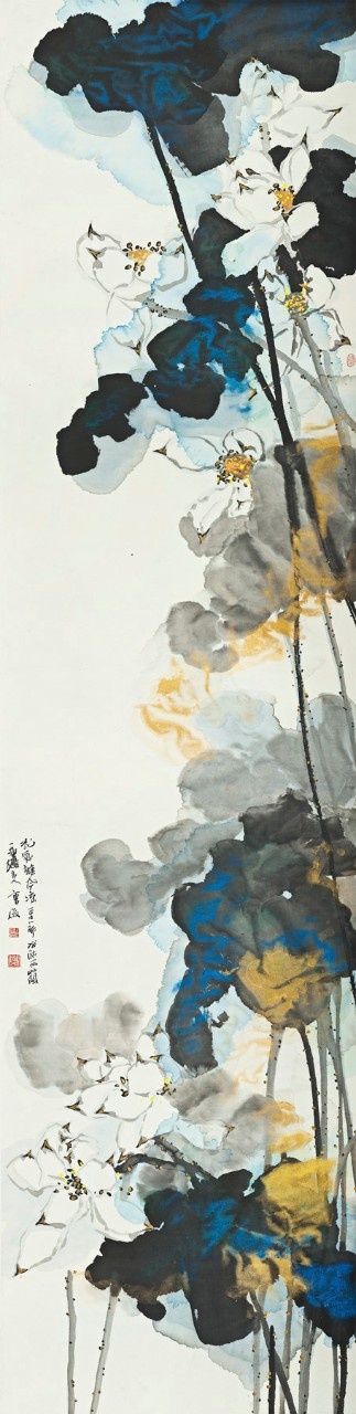 A Cool Breeze with the Fragrance of Flowers 花气杂风凉, 2007, ink and watercolor on paper, 274 x 69 cm © Cao Jun