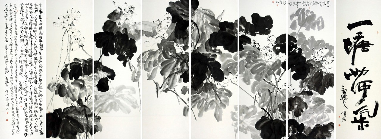 A Pond with the Fragrance of Lotus 一塘荷气, 2006, ink on paper, 190 x 520 cm © Cao Jun