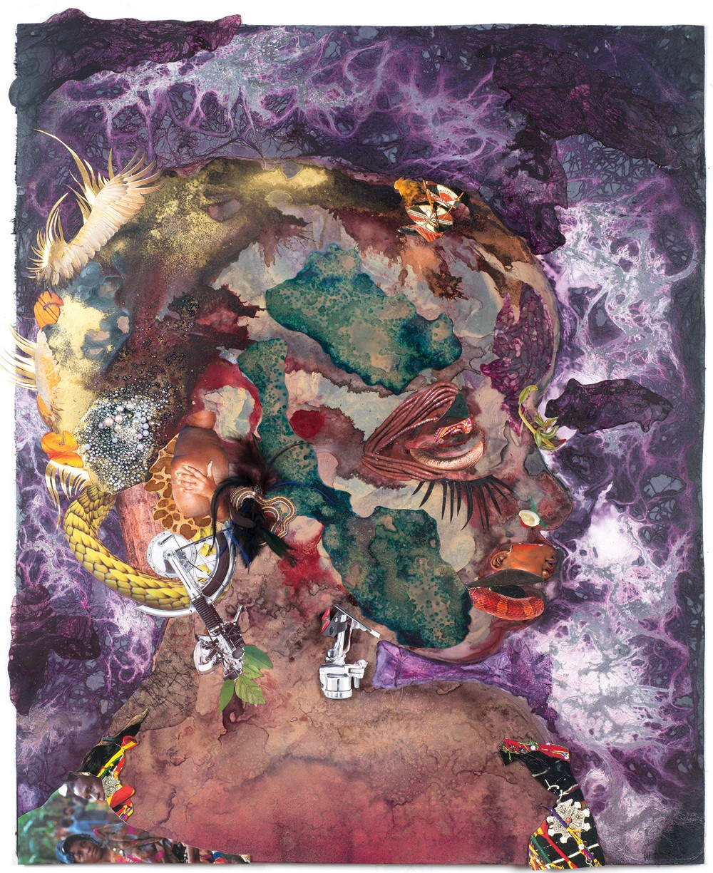 Wangechi Mutu, 'I'm too Misty,' 2015 collage painting on linoleum, 40 x 33 in.