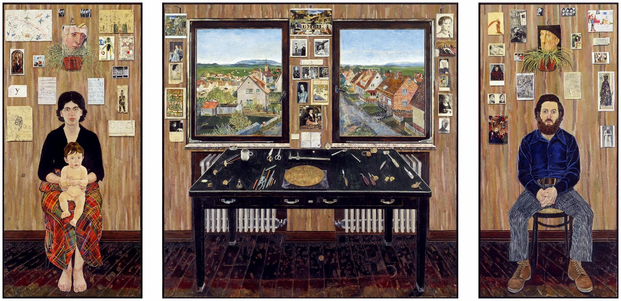 Simon Dinnerstein (1943–), The Fulbright Triptych, 1971–74 Oil on wood panels, 79.5 x 168 in. (overall, separately framed), Palmer Museum of Art, the Pennsylvania State University, Purchased with funds provided by the Friends of the Palmer Museum of Art, 82.14