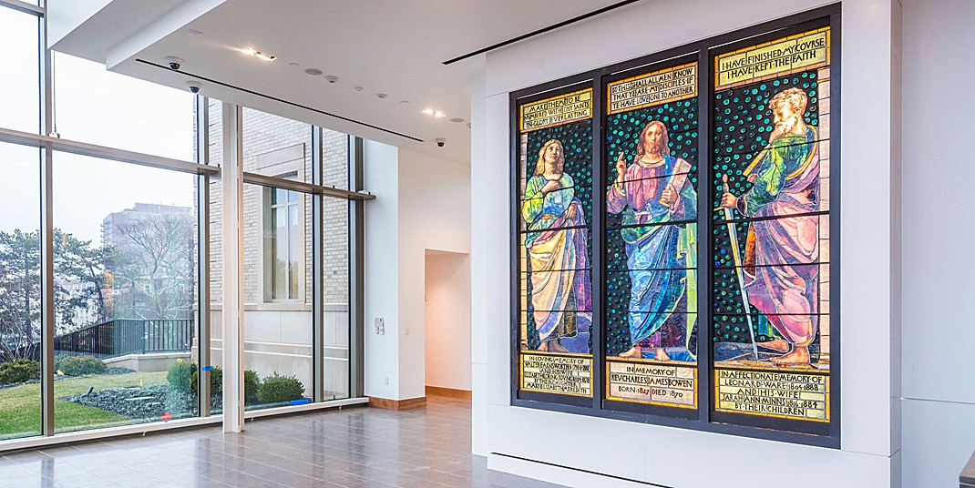 A 127-year-old triptych by American stained glass artist John La Farge featuring a preaching Christ, St. John the Evangelist, and St. Paul, at BC's McMullen Museum of Art